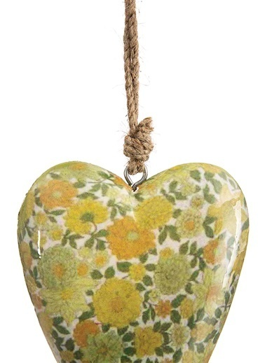 Vitale Çiçek Desenli Kalp Orta Boy Yeşil